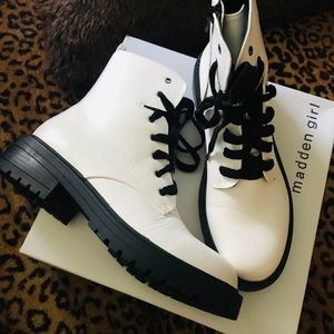 Madden girl white leather combat boots